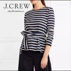JCrew Stripe Belted Top